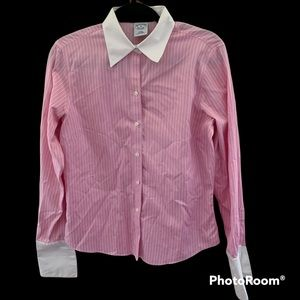 Vintage Brooks Brothers Pink and White Striped Button Up Shirt
